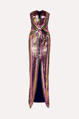 Rasario Strapless Sequined Crepe Gown - Purple