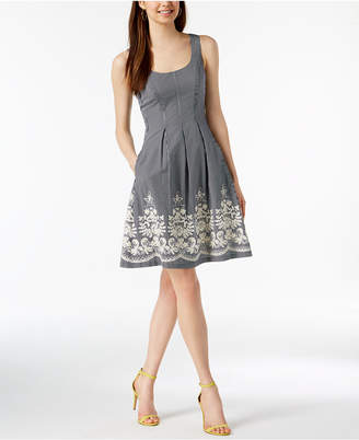 Nine West Embroidered Fit & Flare Dress