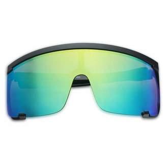 a577f2d7e5 SunglassUP Oversized 150mm Super Shield Mirrored Lens Sunglasses Retro Flat  Top Matte Black Frame