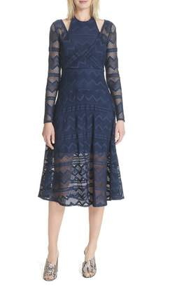 Tracy Reese Surplice Lace Midi Dress