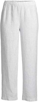 Eileen Fisher Mini Stripe Organic Handkerchief Linen Cropped Pants