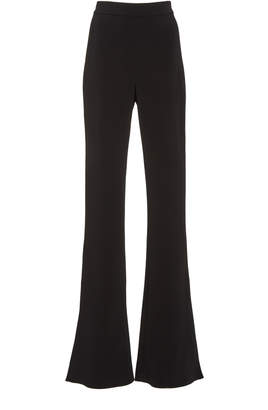 Cushnie High-Rise Slit Hem Flared Crepe Pants