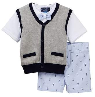 Andy & Evan White Tee with Grey Sweater Vest & Shorts Set (Baby Boys)