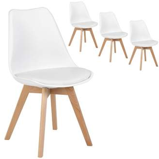 Set of 4 NOva Beech & Faux Leather Dining Chairs