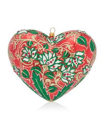 Jay Strongwater Floral Heart Glass Christmas Ornament