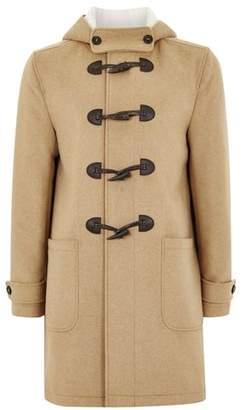 Topman Mens Brown Camel Duffle Coat With Wool