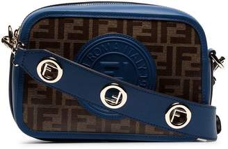 Fendi navy blue and brown Zucca print contrast trim leather cross body bag