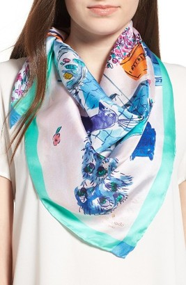 Women's Kate Spade New York Majorelle Scene Silk Square Scarf $78 thestylecure.com