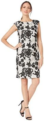 Lauren Ralph Lauren Bria Embellished Mesh Cithya Cap Sleeve Cocktail Dress