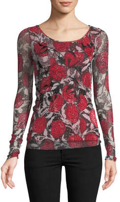 Fuzzi Rose-Print Embroidered Long-Sleeve Top