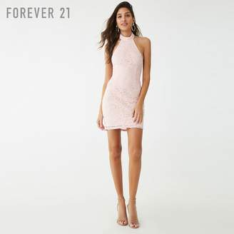 Forever 21 (フォーエバー 21) - Forever 21 フラワークロシェットホルターネックワンピース
