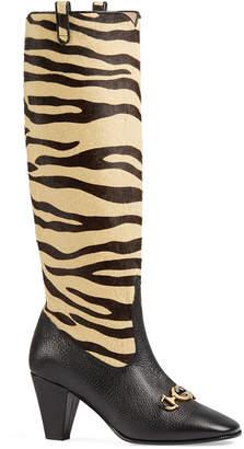 Gucci Zumi Tiger-Print Knee Boots