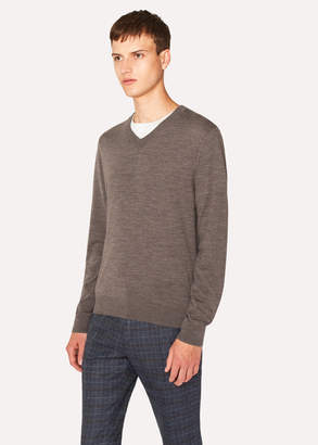 Paul Smith Men's Dark Taupe V-Neck Merino Wool Sweater