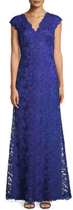 Tadashi Shoji Scalloped Lace Evening Dress