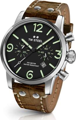 TW Steel Maverick Chronograph Leather Strap Watch, 48mm