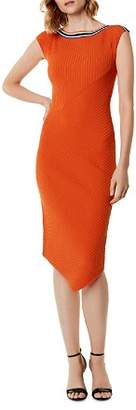 Karen Millen Asymmetric Rib-Knit Midi Dress