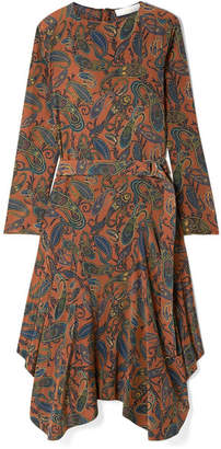Chloé Asymmetric Paisley-print Silk Crepe De Chine Midi Dress - Brown