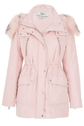 Quiz Pink Padded Faux Fur Collar Jacket
