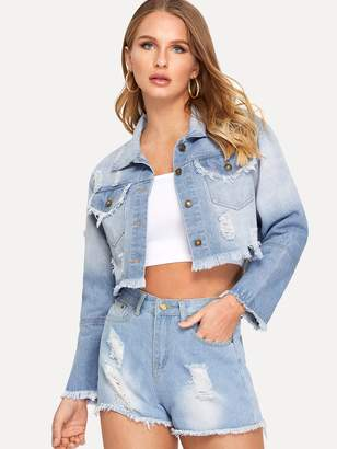 Shein Whiskering Detail Ripped Faded Crop Denim Jacket