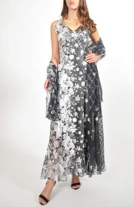 Komarov Lace-Back Maxi Dress with Shawl