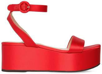 Prada 60mm Satin Wedge Sandals