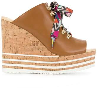 Hogan colour lace wedge sandals