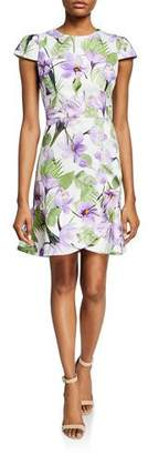 Alice + Olivia Kirby Faux-Wrap Floral Flounce Dress