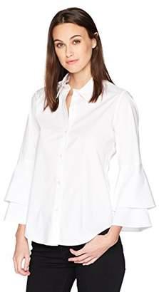 Calvin Klein Women's Longsleeve Button Front Double Ruffle