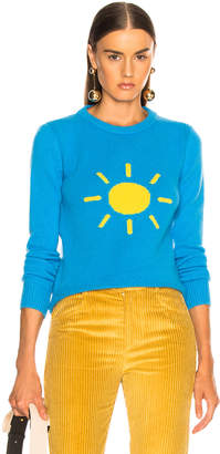 Alberta Ferretti Sunshine Crewneck Sweater in Sky Blue & Yellow | FWRD