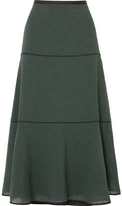 Cefinn - Grosgrain-trimmed Voile Midi Skirt - Green