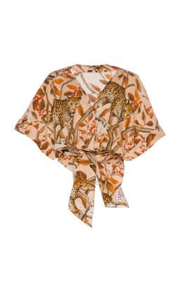 Johanna Ortiz Young And Wild Printed Cotton Wrap Shirt
