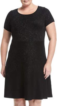 Taylor Plus Metallic-Print Sweater Dress, Plus Size