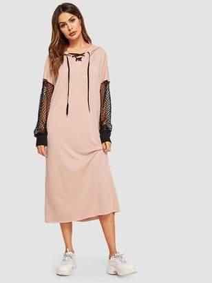 Shein Fishnet Sleeve Hooded Sweatshirt Dress