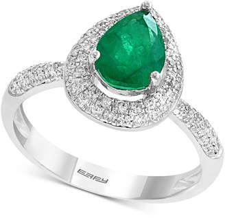 Effy Gemstone Bridal by Emerald (9/10 ct. t.w.) & Diamond (3/8 ct. t.w.) Ring in 18k White Gold