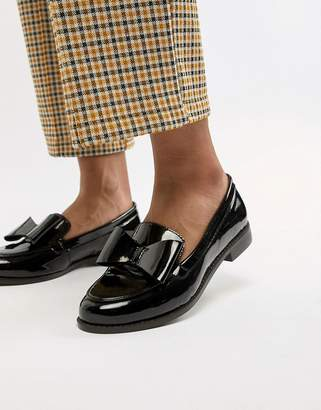 Office Flat Leather Bow Loafers