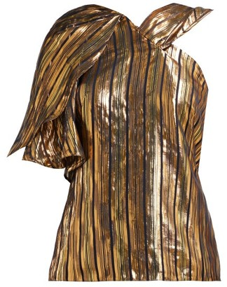 Peter Pilotto Asymmetric Striped Silk Blend Lame Top - Womens - Gold Multi