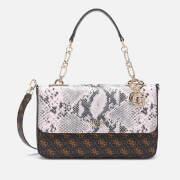 GUESS Women's Logo Rock Top Handle Flap Bag - Brown Multi