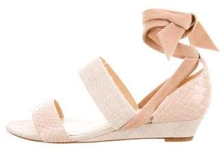 Alexandre Birman Embossed Leather Ankle Strap Wedges