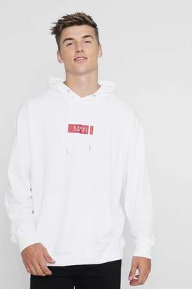 boohoo Oversized MAN Red Box Hoodie