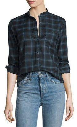 Helmut Lang Shrunken Plaid Pullover Shirt, Navy $395 thestylecure.com