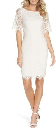 Adrianna Papell Georgia Scalloped Lace Sheath Dress