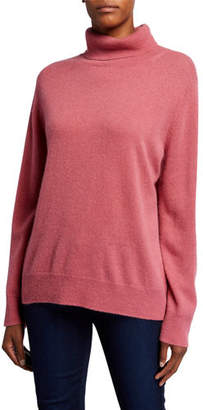 Neiman Marcus Plus Size Basic Long-Sleeve Turtleneck Cashmere Sweater