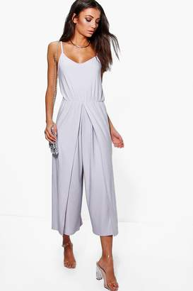 boohoo Tall Wrap Split Leg Strappy Culotte Jumpsuit