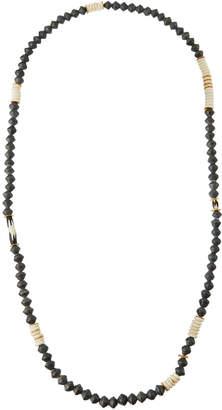 Akola Long Paper, Bone & Brass Beaded Necklace, Gray