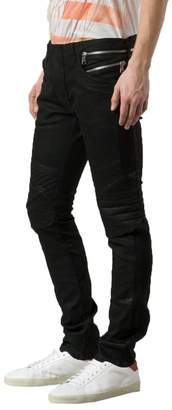 Balmain Men's Coated Skinny Biker Jeans
