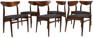 One Kings Lane Vintage Midcentury Modern Dining Chairs - Set of 6 - Castle Antiques & Design