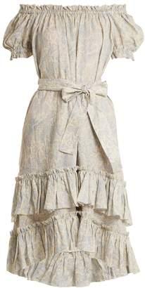 Zimmermann Helm off-the-shoulder linen dress