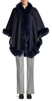 """Made For Generationâ""""¢ Dyed Fox Fur Trim Cashmere Cape"""