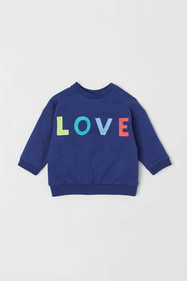 H&M Text-print Sweatshirt - Blue