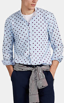 Massimo Alba Men's Dot-Print Cotton Shirt - Lt. Blue